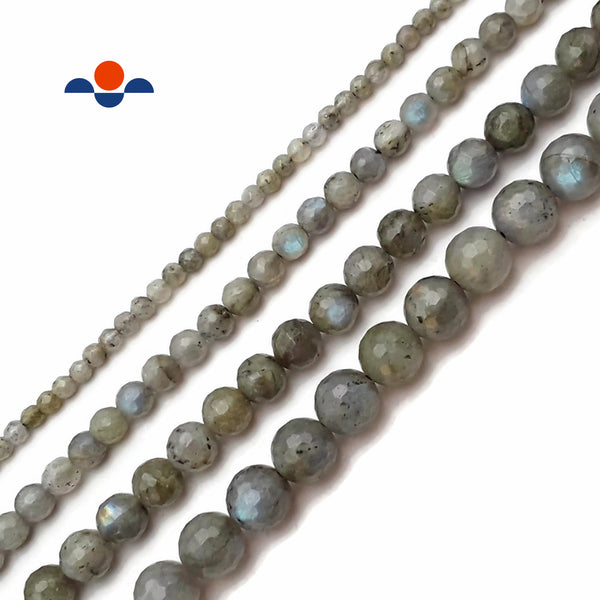 "Labradorite Faceted Round Beads Size 4mm 6mm 8mm 10mm 12mm 15.5"" Strand"