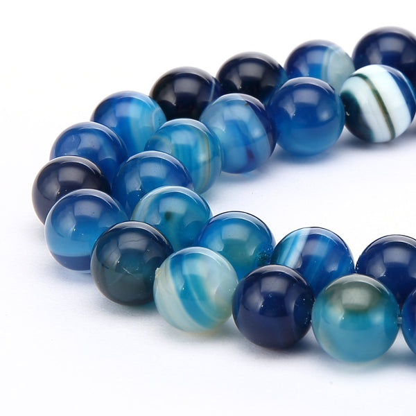 blue Striped agate smooth round beads