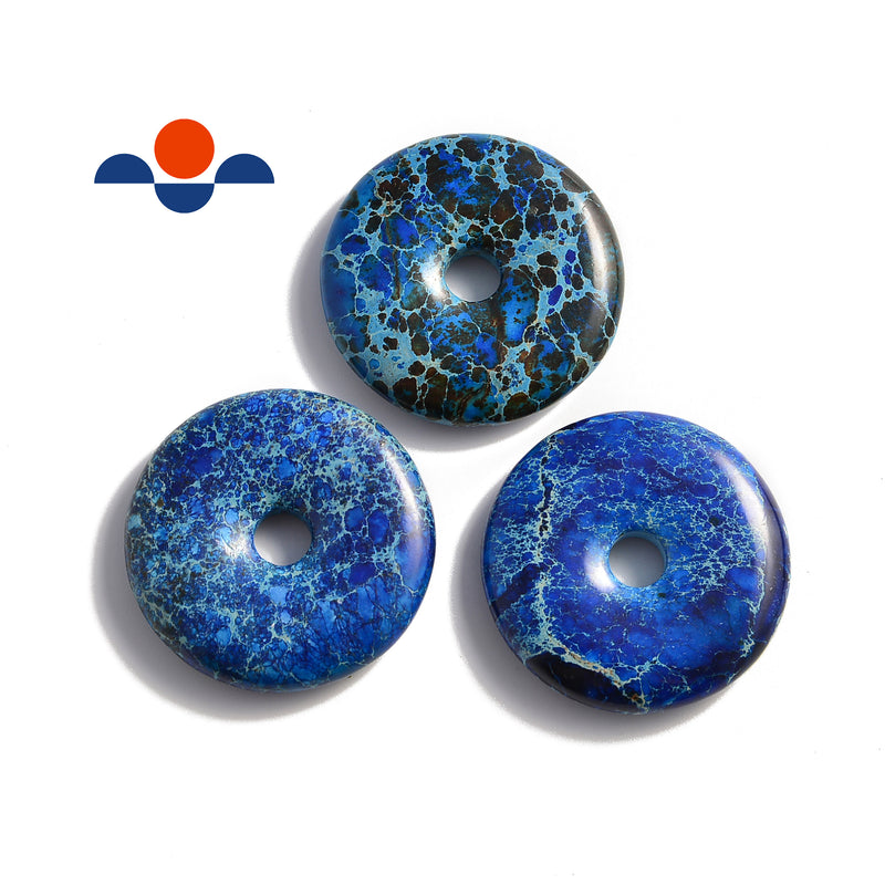 lapis blue sea sediment jasper donut circle pendant