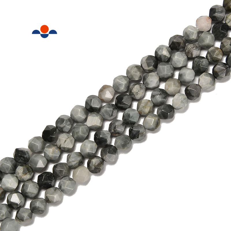 Natural Gray Eagle's Eye Faceted Start Cut Beads Size 8mm 15.5'' Strand