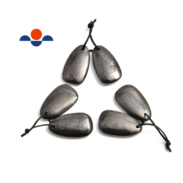 Natural Shungite Pendant Triangle Drop Shape Size 18x32mm Sold Per Pair