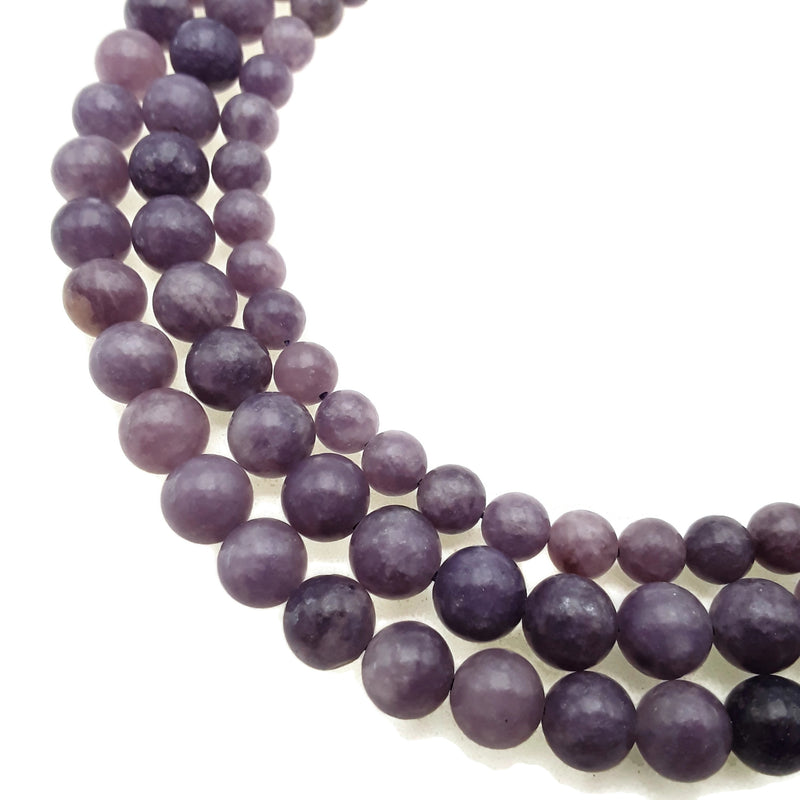 "Natural Purple Lepidolite Smooth Round Beads 6mm 8mm 10mm 15.5"" Strand"