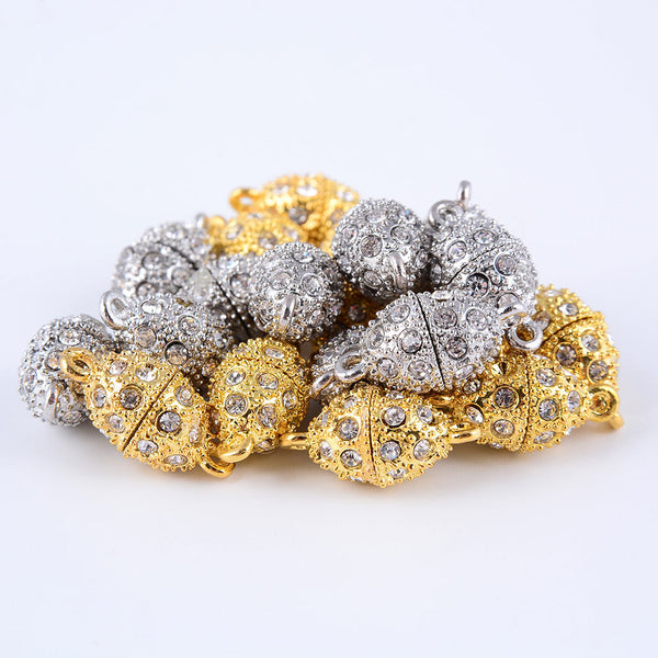 silver gold plated strong magnetic rhinestone clasps oval