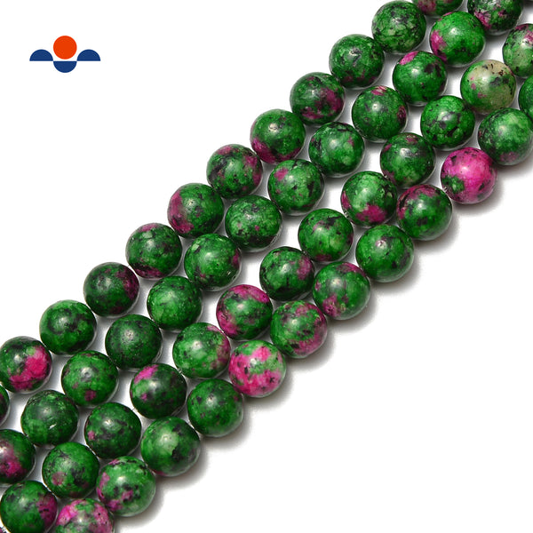 ruby zoisite color dyed jade smooth round beads