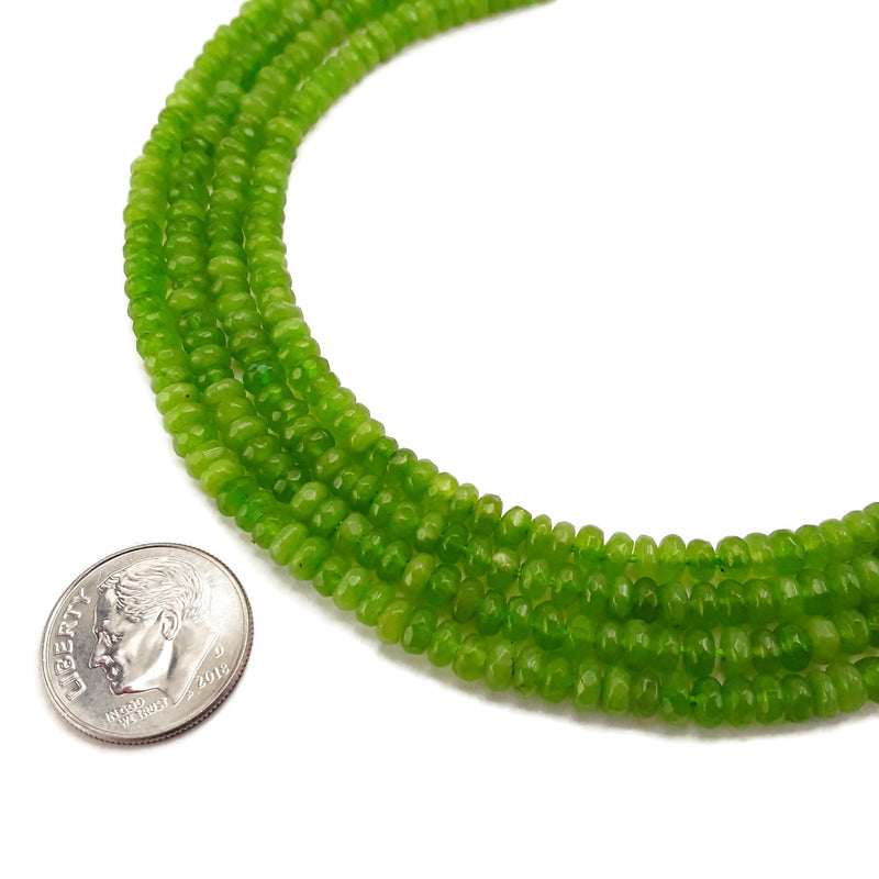 light green dyed jade faceted rondelle beads