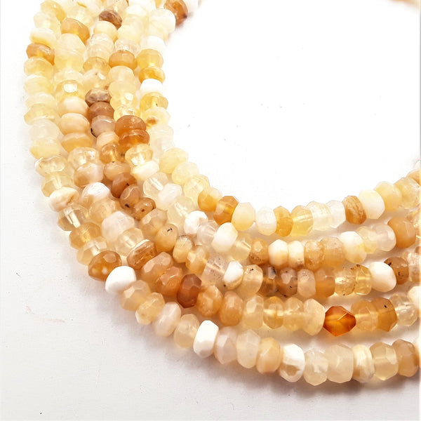 yellow opal faceted irregular rondelle beads