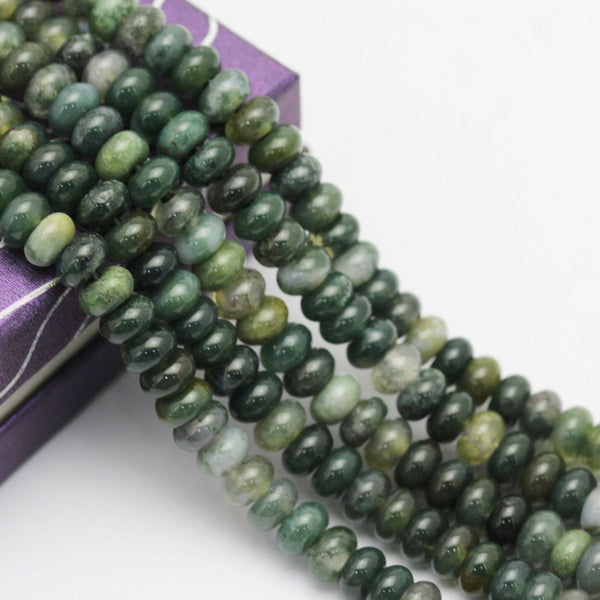 "2.0mm Hole Green Moss Agate Smooth Rondelle Beads 5x8mm 6x10mm 8"" Strand"