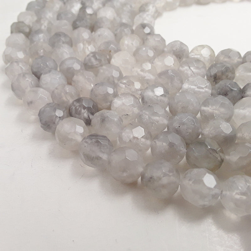 cloudy quartz big faceted round beads