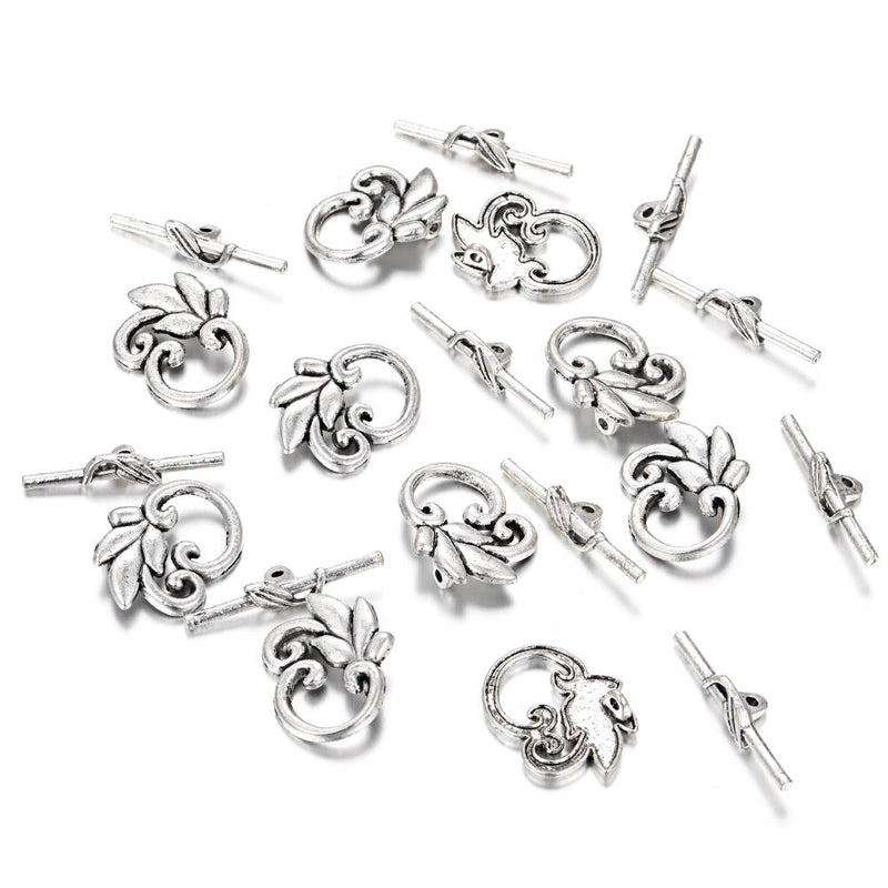 Anti-Silver Plated Charm Toggle Clasp Flower Size 20x25mm 10 Clasps Per Bag