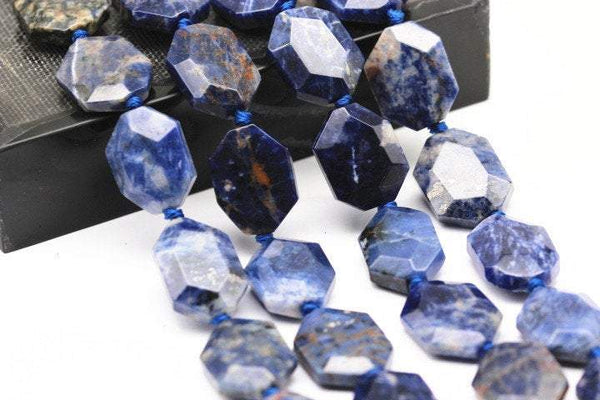 natural sodalite rectangle slice faceted octagon beads