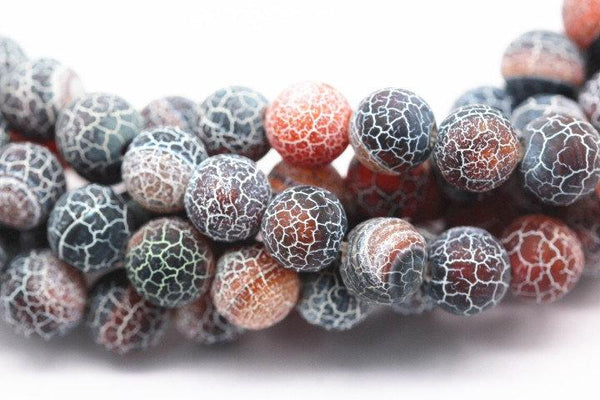 black red fire agate Crackled matte round beads