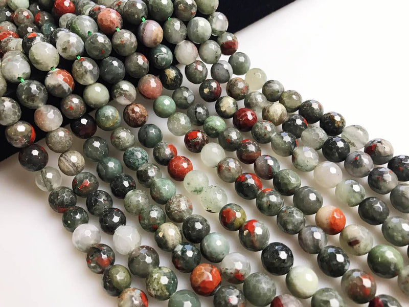 "African Bloodstone Faceted Round Beads 6mm 8mm 10mm 15.5"" Strand"