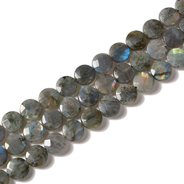Natural Labradorite Faceted Coin Beads Size 15mm 15.5'' Strand