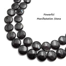 "Arfvedsonite Smooth Coin Shape Beads 16mm Approx 15.5"" Strand"