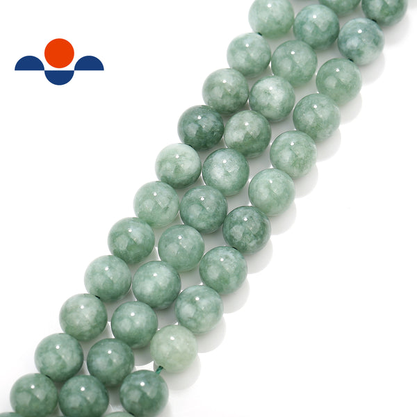 cloudy green dyed jade smooth round beads