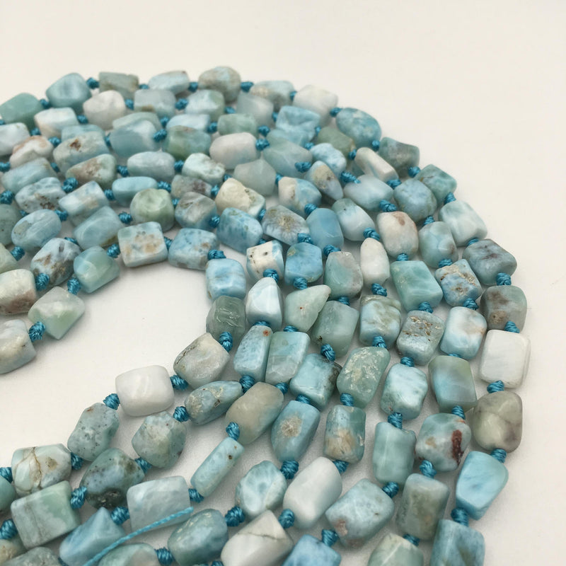 natural larimar smooth irregular tube shape beads