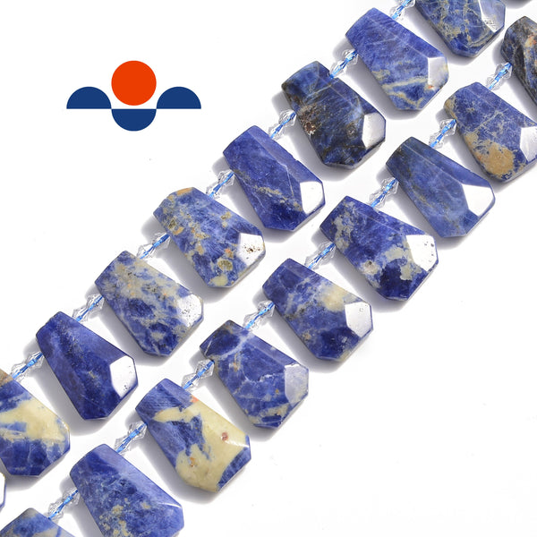 sodalite graduated faceted trapezoid beads