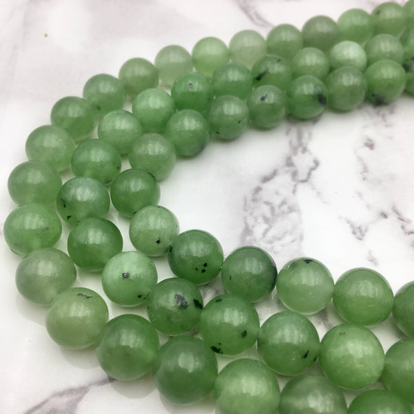 natural hetian jade smooth round beads