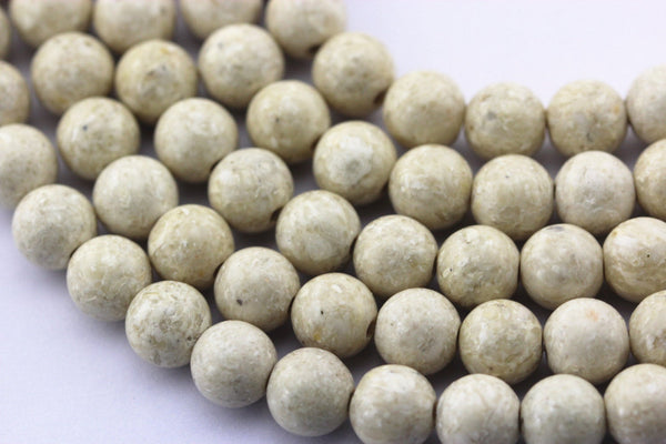 "2.0mm Hole River Stone Matte Round Beads 6mm 8mm 10mm 15.5"" Strand"