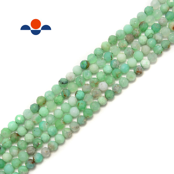 "Natural Chrysoprase Faceted Round Beads Size 4mm 15.5"" Strand"