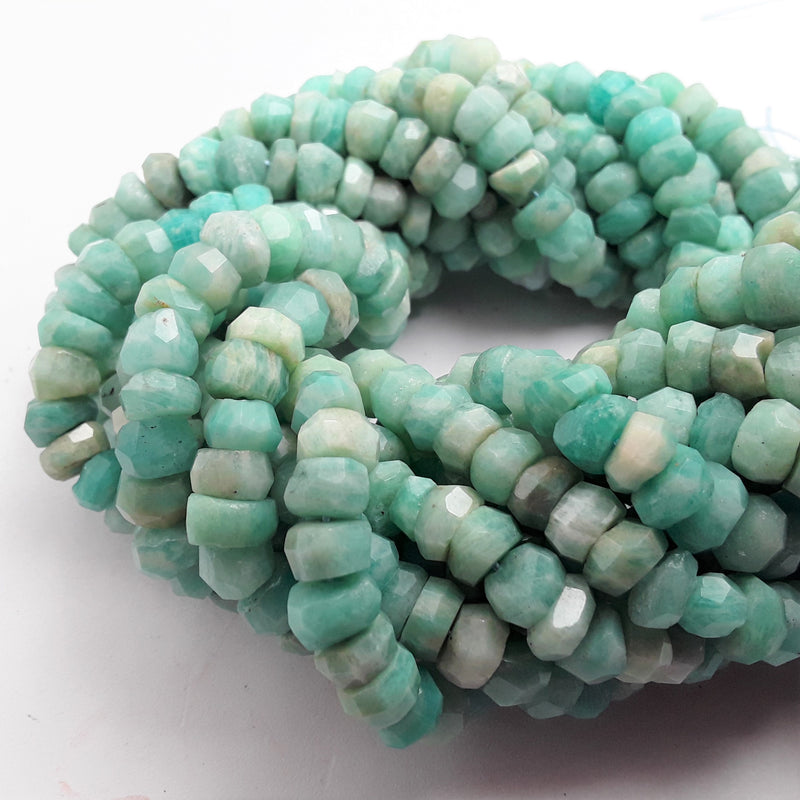 "Amazonite Faceted Irregular Rondelle Beads Approx 5x8mm 15.5"" Strand"