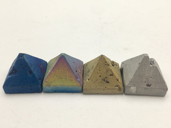 Natural Tiny Druzy Agate Pyramid Silver Gold Rainbow Blue Colors
