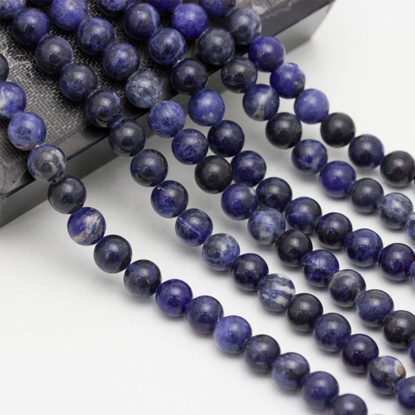 large hole sodalite smooth round beads