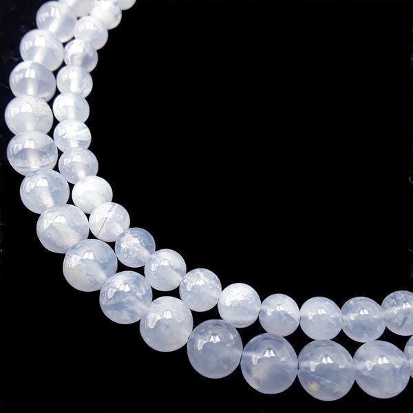 translucent blue chalcedony smooth round beadsbeads