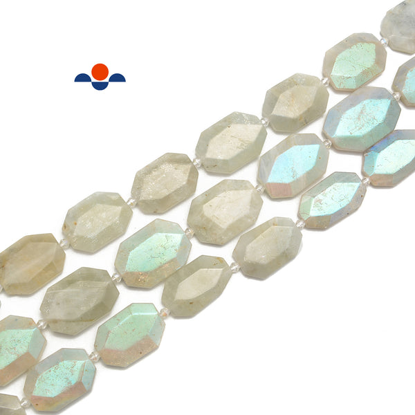 Coated White Moonstone Faceted Flat Rectangle Beads Size 25x35mm 15.5'' Strand