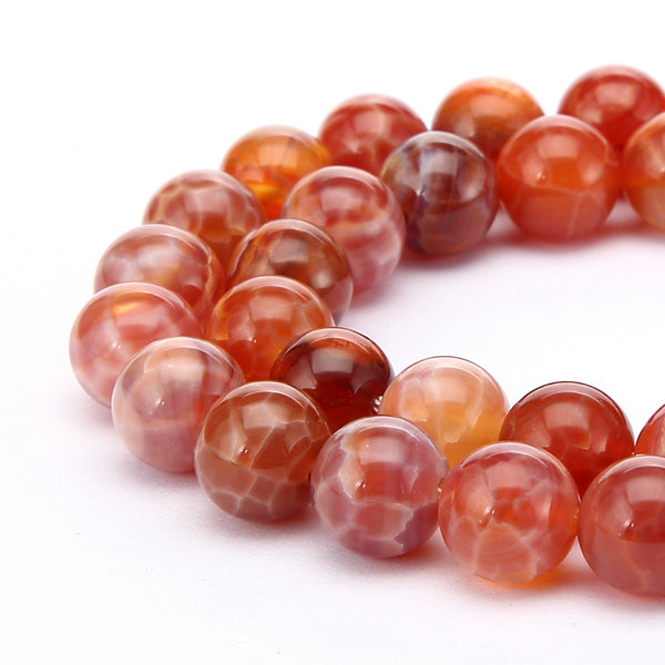burnt orange fire agate smooth round beads