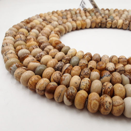 natural picture jasper smooth rondelle beads