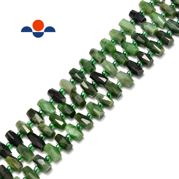 nephrite jade faceted barrel drum cylinder center drill beads