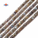 "Dark Gray Labradorite Faceted Rondelle Beads 4x6mm 15.5"" Strand"