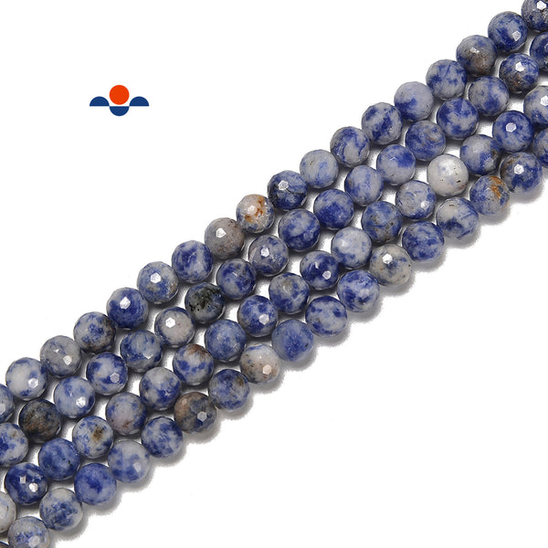 Natural Blue Spot Jasper Hard Cut Faceted Round Beads Size 6mm 15.5'' Strand