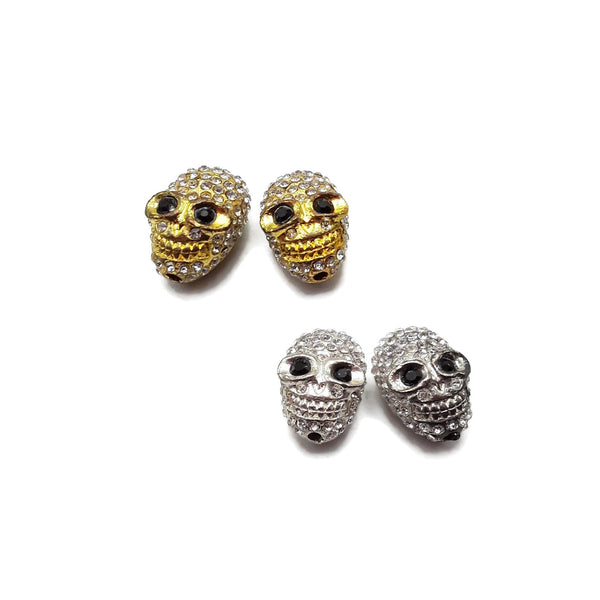 Alloy Silver/Gold Plated Rhinestone Egg Skull Pendant Charm 9x16mm Sold by Piece