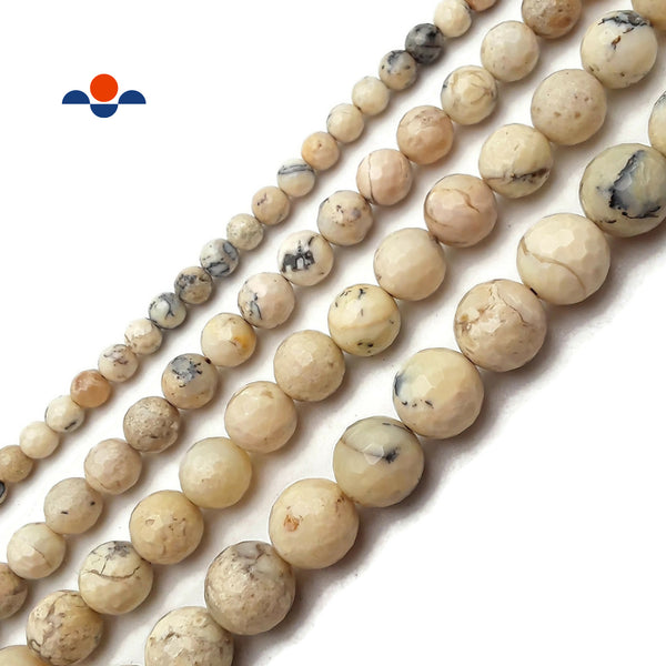 "Natural African White Opal Faceted Round Beads 4mm 6mm 8mm 10mm 12mm 15.5"" Strand"