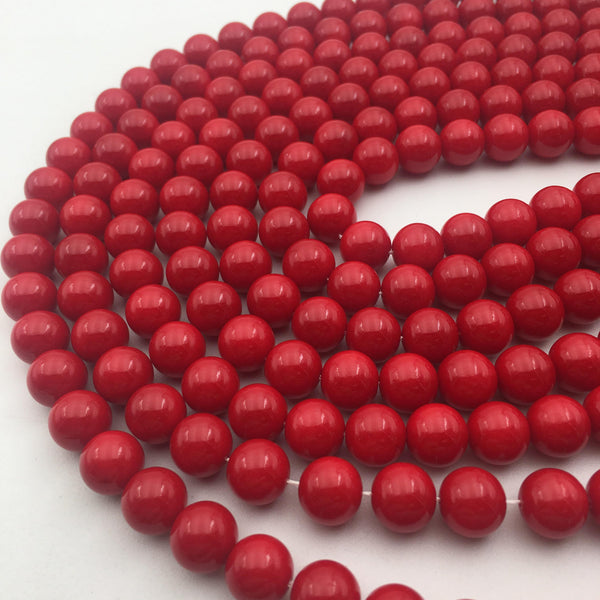 red glass pearl smooth round beads