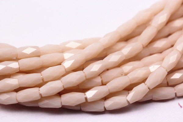 peach pink crystal glass faceted rice tube beads