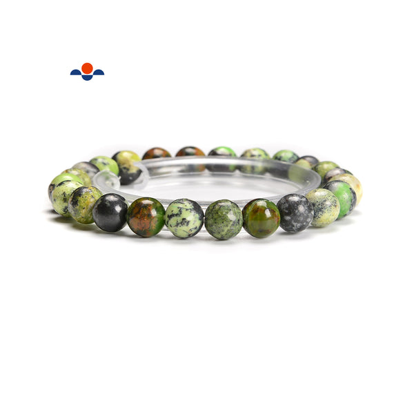 Green Chrysoprase Smooth Round Elastic Bracelet Size 4mm-11mm 7.5'' Length