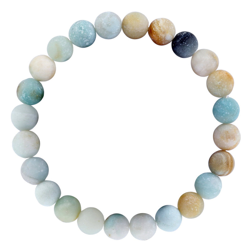 "Amazonite Bracelet Matte Round Size 10mm 8mm 7.5"" Length"