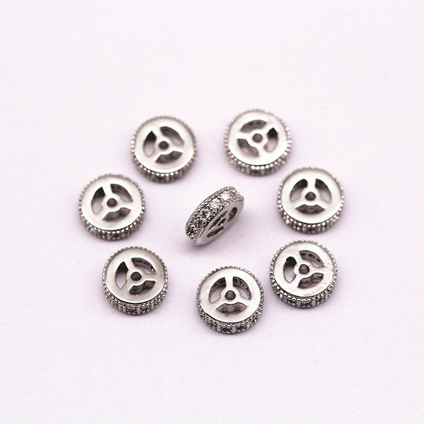 silver plated micro pave zircon flat wheel charm