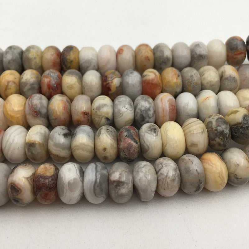 large hole crazy agate smooth rondelle beads