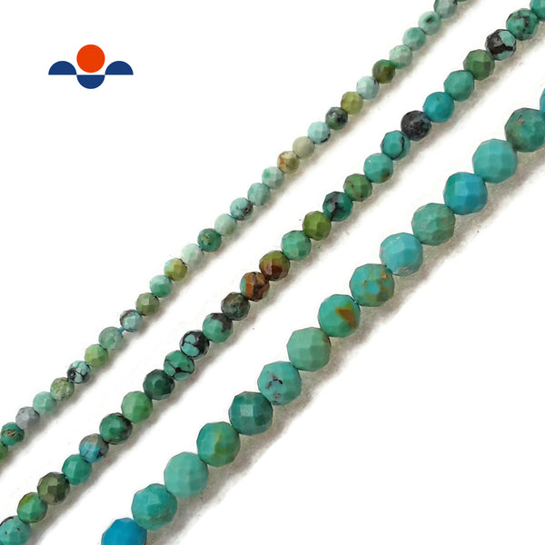 "Natural Turquoise Faceted Round Beads 2mm 3mm 4mm 15.5"" Strand"