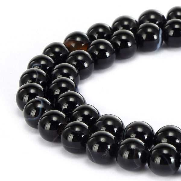 black Striped agate smooth round beads