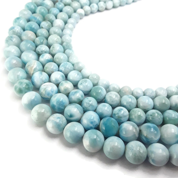 high quality natural larimar smooth round beads