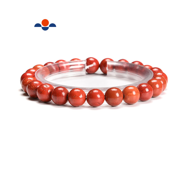Natural Red Jasper Smooth Round Elastic Bracelet Beads Size 6mm 8mm 7.5'' Length