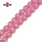 pink cats eye smooth round beads