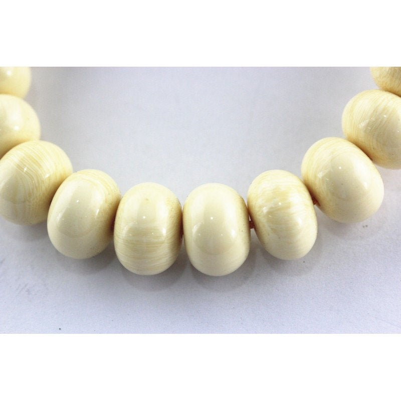 imitation bone smooth rondelle beads
