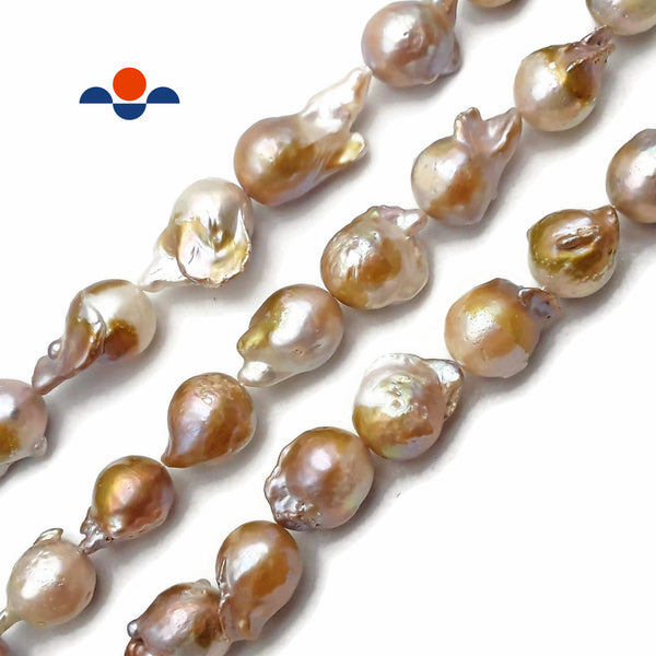 "Natural Champagne Fresh Water Pearl Baroque Beads Approx 15x25mm 15.5"" Strand"