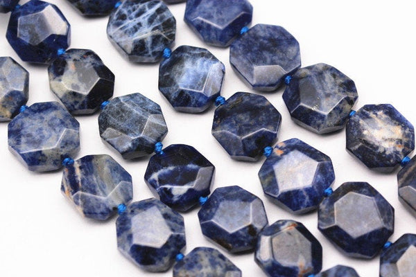 natural sodalite faceted flat hexagonal beads
